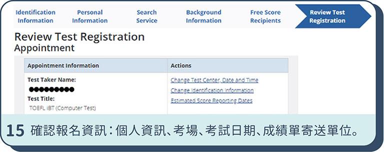 TOEFL托福報名步驟 - 15.確認TOEFL iBT報名資訊