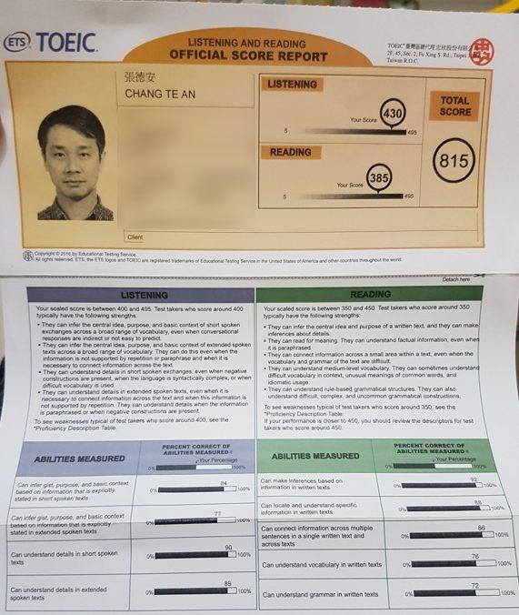 TOEIC815成績單