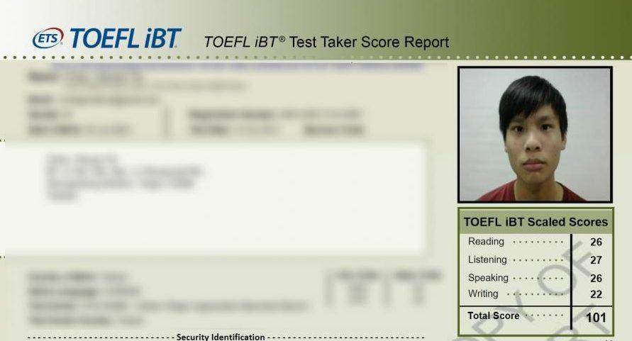 托福101分成績單